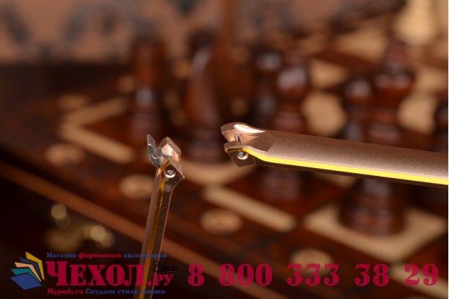 Фирменный оригинальный ультра-тонкий чехол-бампер для Lenovo K3 Note/A7000  золотой  металлический