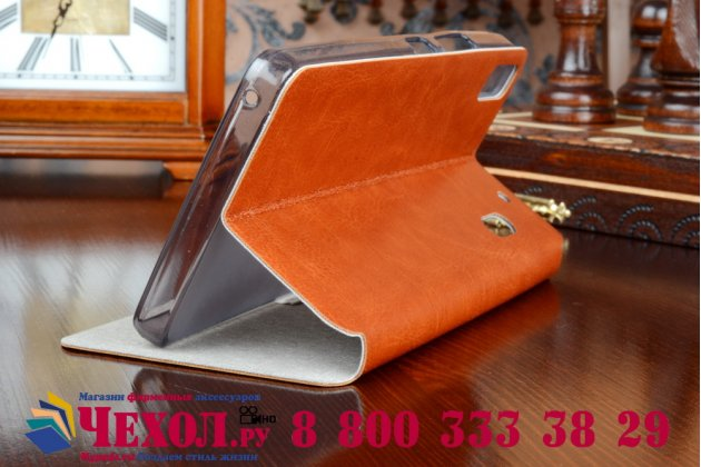 Фирменный чехол-книжка из качественной водоотталкивающей импортной кожи на жёсткой металлической основе для Lenovo A7000 коричневый