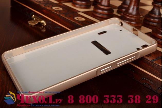 """Фирменная металлическая задняя панель-крышка-накладка из тончайшего облегченного авиационного алюминия для  Lenovo K3 Note / A7000 5.5"""" золотая"""