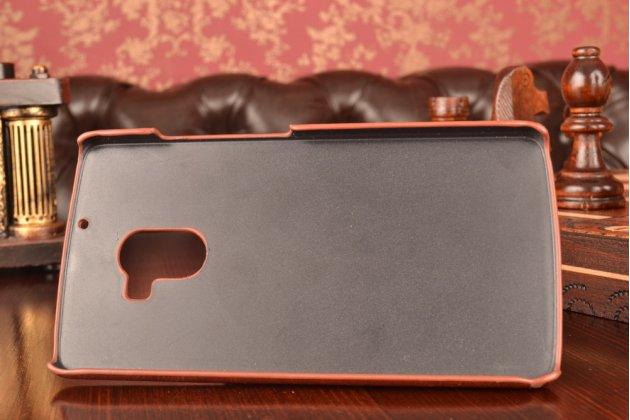 """Фирменная роскошная элитная премиальная задняя панель-крышка для Lenovo A7010 / Vibe X3 Lite/ K4 Note 5.5"""" из качественной кожи буйвола с визитницей коричневая"""