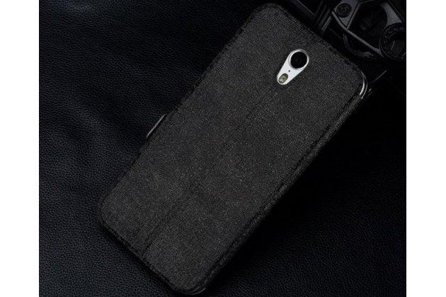 """Фирменный чехол-книжка для Lenovo A7010 / Vibe X3 Lite/ K4 Note 5.5""""  черный с окошком для входящих вызовов и свайпом водоотталкивающий"""