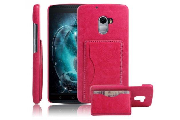 """Фирменная роскошная элитная премиальная задняя панель-крышка для Lenovo A7010 / Vibe X3 Lite/ K4 Note 5.5"""" из качественной кожи буйвола с визитницей розовая"""