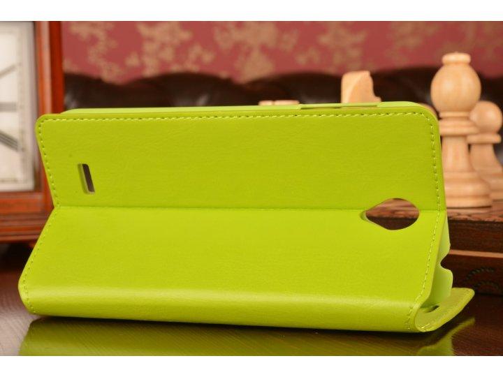 Фирменный чехол-книжка с подставкой для Lenovo A850 зелёный..