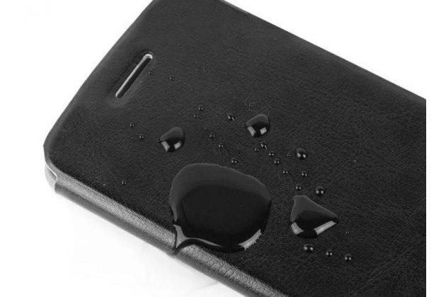 """Фирменный чехол-книжка из качественной водоотталкивающей импортной кожи на жёсткой металлической основе для Lenovo A889 / A880 6.0"""" коричневый"""