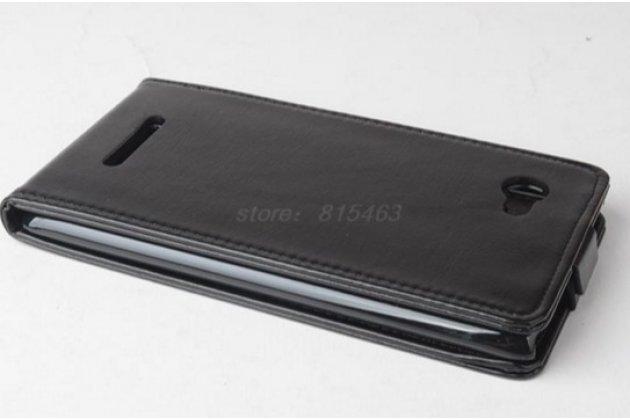 """Фирменный оригинальный вертикальный откидной чехол-флип для Lenovo A889 / A880 6.0"""" черный из натуральной кожи """"Prestige"""" Италия"""