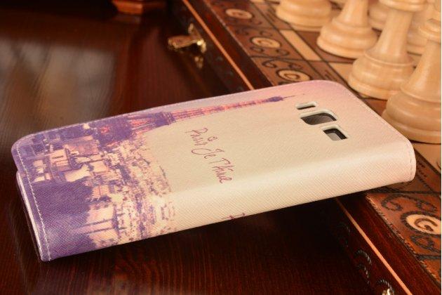 """Фирменный уникальный необычный чехол-подставка с визитницей кармашком для Lenovo A916  """"тематика Франция"""""""
