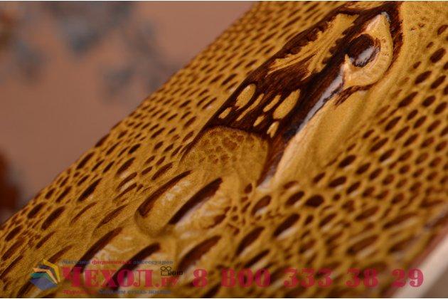 Фирменный роскошный эксклюзивный чехол с объёмным 3D изображением кожи крокодила коричневый для Lenovo K3 Note/A7000. Только в нашем магазине. Количество ограничено