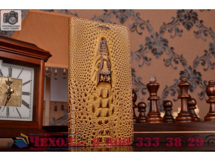 Фирменный роскошный эксклюзивный чехол с объёмным 3D изображением кожи крокодила коричневый для Lenovo K3 Note..