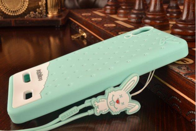 """Фирменная необычная уникальная полимерная мягкая задняя панель-чехол-накладка для Lenovo A6000/ A6010 Plus """"тематика Андроид в мятном шоколаде"""""""