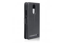"""Фирменный чехол-книжка из качественной импортной кожи с подставкой застёжкой и визитницей для Lenovo K5 Note  (K52t38 / K52e78) 5.5"""" черный"""