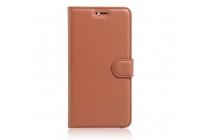 """Фирменный чехол-книжка из качественной импортной кожи с подставкой застёжкой и визитницей для Lenovo K5 Note  (K52t38 / K52e78) 5.5"""" коричневый"""