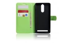 """Фирменный чехол-книжка из качественной импортной кожи с подставкой застёжкой и визитницей для Lenovo K5 Note  (K52t38 / K52e78) 5.5"""" зелёный"""
