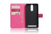 """Фирменный чехол-книжка из качественной импортной кожи с подставкой застёжкой и визитницей для Lenovo K5 Note  (K52t38 / K52e78) 5.5"""" розовый"""