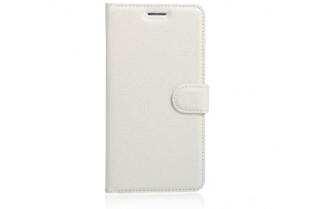 """Фирменный чехол-книжка из качественной импортной кожи с подставкой застёжкой и визитницей для Lenovo K5 Note  (K52t38 / K52e78) 5.5"""" белый"""