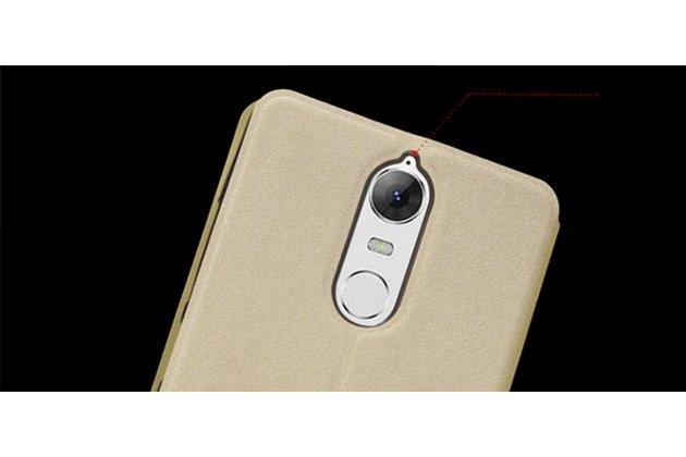 """Фирменный чехол-книжка из качественной водоотталкивающей импортной кожи на жёсткой металлической основе для Lenovo K5 Note  (K52t38 / K52e78) 5.5"""" золотой"""