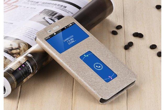 """Фирменный чехол-книжка для Lenovo K5 Note  (K52t38 / K52e78) 5.5"""" золотой с окошком для входящих вызовов и свайпом водоотталкивающий"""