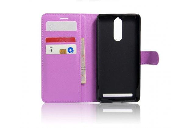 """Фирменный чехол-книжка из качественной импортной кожи с подставкой застёжкой и визитницей для Lenovo K5 Note  (K52t38 / K52e78) 5.5"""" фиолетовый"""