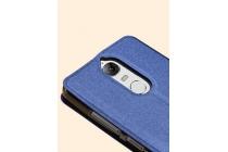 """Фирменный чехол-книжка из качественной водоотталкивающей импортной кожи на жёсткой металлической основе для Lenovo K5 Note  (K52t38 / K52e78) 5.5"""" синий"""