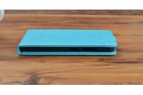 """Фирменный оригинальный вертикальный откидной чехол-флип для Lenovo K5 Note  (K52t38 / K52e78) 5.5"""" голубой кожаный"""