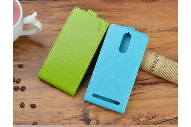 """Фирменный оригинальный вертикальный откидной чехол-флип для Lenovo K5 Note  (K52t38 / K52e78) 5.5"""" зелёный кожаный"""
