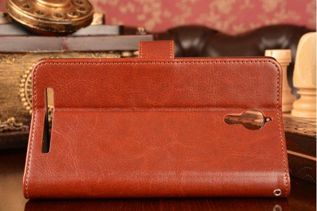 Фирменный чехол-книжка из качественной импортной кожи с мульти-подставкой застёжкой и визитницей для Леново К80 / П90/ П90 Про коричневый