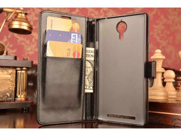 Фирменный чехол-книжка из качественной импортной кожи с мульти-подставкой застёжкой и визитницей для Леново К8..