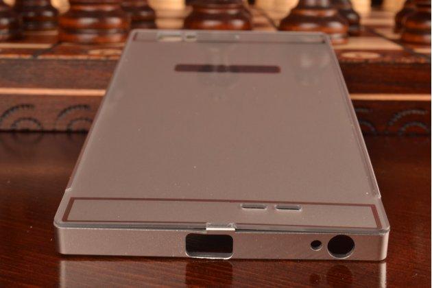 Фирменная металлическая задняя панель-крышка-накладка из тончайшего облегченного авиационного алюминия для Lenovo K900 серебристая