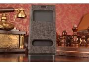 Фирменный чехол-книжка для Lenovo K900 черный с окошком для входящих вызовов и свайпом водоотталкивающий..