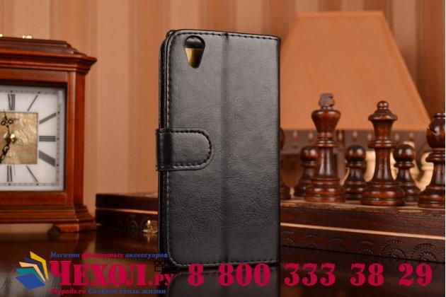 Фирменный чехол-книжка из качественной импортной кожи с мульти-подставкой застёжкой и визитницей для Леново П70 черный