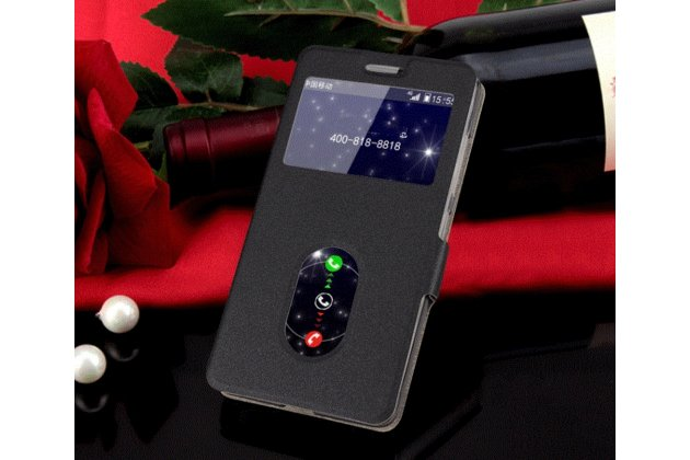 Фирменный оригинальный чехол-книжка для Lenovo P70 черный кожаный с окошком для входящих вызовов и свайпом