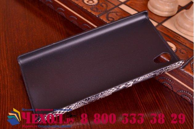 """Ультра-тонкая пластиковая задняя панель-крышка для Lenovo P70  """"змеиная кожа"""" черный"""