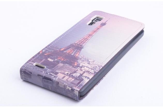 """Фирменный вертикальный откидной чехол-флип  для Lenovo P780  """"тематика Франция"""""""