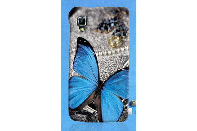 Фирменная пластиковая задняя панель-чехол-накладка с безумно красивым расписным рисунком Бабочки для Lenovo P780