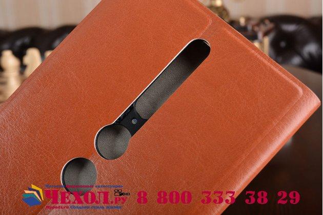 """Фирменный чехол-книжка из качественной водоотталкивающей импортной кожи на жёсткой металлической основе для Lenovo Phab 2 Pro PB2-690N 6.4"""" коричневый"""