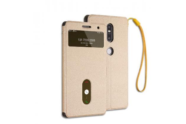 Фирменный чехол-книжка для Lenovo Phab 2 Plus PB2-670M 6.4 золотой с окошком для входящих вызовов и свайпом водоотталкивающий