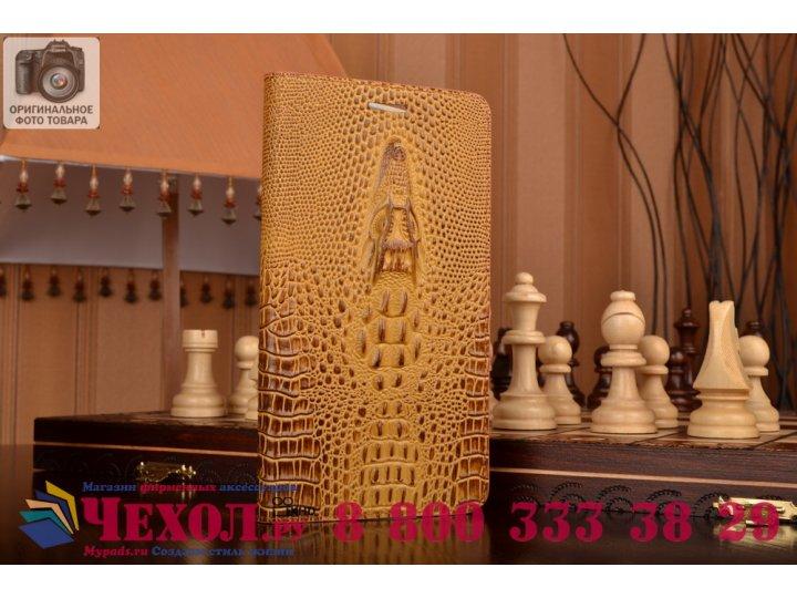 Фирменный роскошный эксклюзивный чехол с объёмным 3D изображением кожи крокодила коричневый для Lenovo Phab Pl..