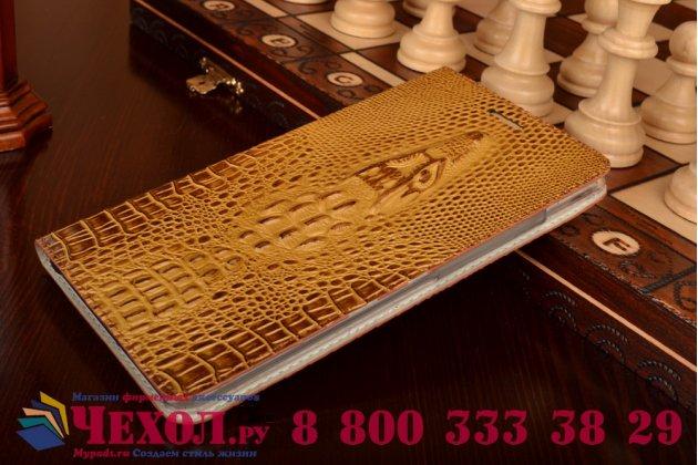 """Фирменный роскошный эксклюзивный чехол с объёмным 3D изображением кожи крокодила коричневый для Lenovo Phab Plus PB1-770N/770M 6.8"""" ZA070019RU  . Только в нашем магазине. Количество ограничено"""