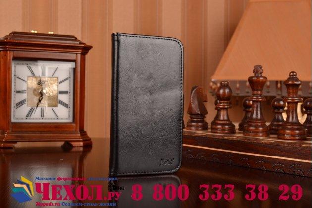 Фирменный чехол-книжка из качественной импортной кожи с мульти-подставкой застёжкой и визитницей для Леново С580 черный