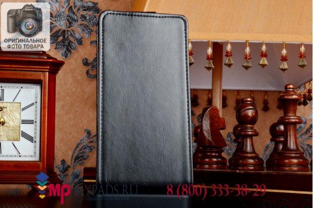 """Фирменный оригинальный вертикальный откидной чехол-флип для Lenovo S580 черный кожаный """"Prestige"""" Италия"""