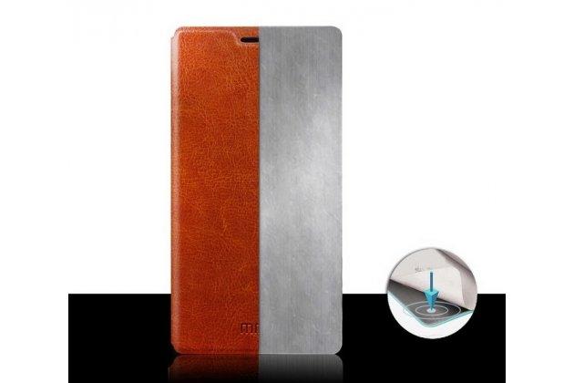 Фирменный чехол-книжка из качественной водоотталкивающей импортной кожи на жёсткой металлической основе для Lenovo S60 коричневый