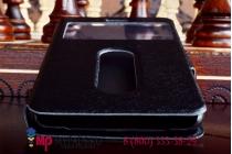 Фирменный оригинальный чехол-книжка для Lenovo Sisley S90 черный кожаный с окошком для входящих вызовов и свайпом