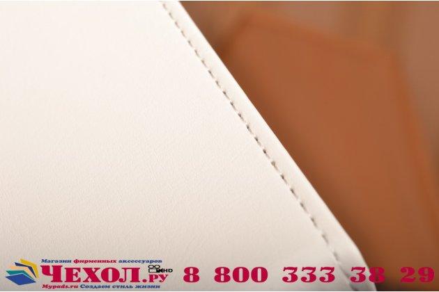 """Фирменный оригинальный вертикальный откидной чехол-флип для Lenovo S60-T белый из качественной импортной кожи """"Prestige"""" Италия"""