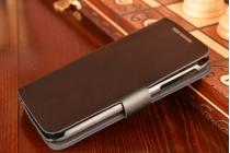 Фирменный оригинальный чехол-книжка для Lenovo S820 черный кожаный