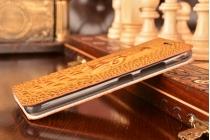Фирменный роскошный эксклюзивный чехол с объёмным 3D изображением кожи крокодила коричневый для Lenovo Sisley S90 (S90-T) . Только в нашем магазине. Количество ограничено