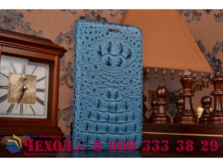 Фирменный роскошный эксклюзивный чехол с объёмным 3D изображением рельефа кожи крокодила синий для Lenovo Sisl..