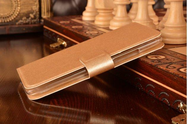 Фирменный чехол-книжка водоотталкивающий для Lenovo S960 Vibe X золотой