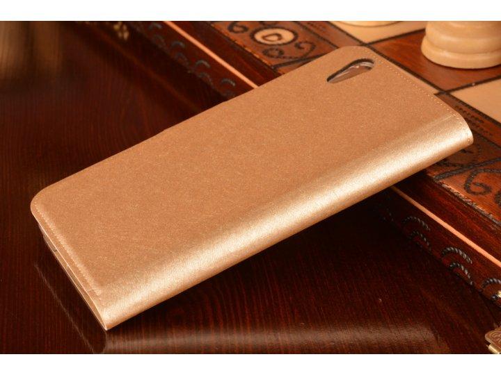Фирменный чехол-книжка водоотталкивающий для Lenovo S960 Vibe X золотой..