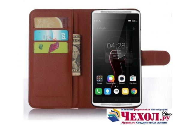 """Фирменный чехол-книжка из качественной импортной кожи с подставкой застёжкой и визитницей для Леново Вайб Икс3/ Икс3с50/ Икс3с70 5.5"""" коричневый"""