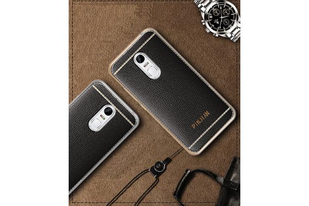 Фирменная премиальная элитная крышка-накладка на Lenovo Vibe Х3/ X3c50/ X3c70 5.5 черная из качественного силикона с дизайном под кожу