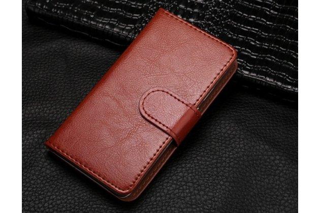 """Фирменный чехол-книжка из качественной импортной кожи с подставкой застёжкой и визитницей для Lenovo Vibe B (A2016A40) PA4R0021RU 4.5"""" коричневый"""